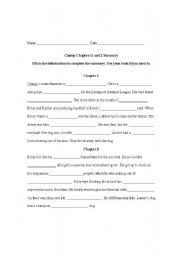 English Worksheets: Champ Chapters Fill-In