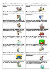 Conversation cards (No. 9) -  HOW LONG? - Present Perfect and Present Perfect Continuous