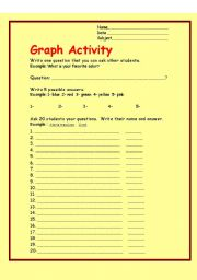 English Worksheets: Ask Questions and Make a Graph!