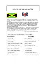 English Worksheet: British and Jamaican English