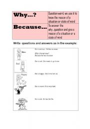 English Worksheet: why because and feelings