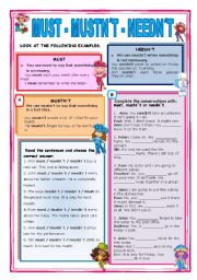 English Worksheet: MUST - MUSTN`T - NEEDN`T