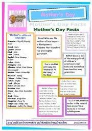 English Worksheet: Mother´s Day Facts +