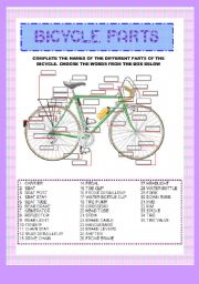 BICYCLE PARTS -vocabulary exercise