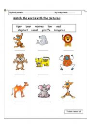 English Worksheets: Matching words with animals� pictures