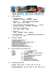 English Worksheets: SIX DAYS, SEVEN NIGHTS (FILM)