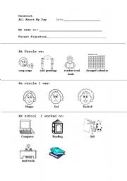English worksheets: Daily Homework