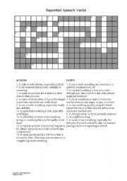 Reported Speech Verb Crossword