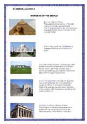 English Worksheet: WONDERS OF THE WORLD
