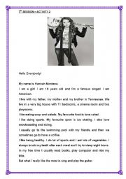 English Worksheet: HANNAH MONTANA