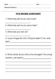 English Worksheets: The five sences