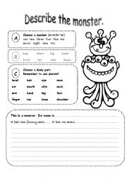 English Worksheet: describe a monster