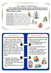 English Worksheet: Mother´s Day Fun reading! Stages of Motherhood, Motherly Advice, My Mother Taught me
