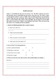English Worksheets: My life and yours!