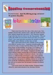 English Worksheet: Reading Comprehension- Persuasive passage: Year-Round school : A better option