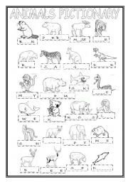 English Worksheets: Animal Pictionary with Gaps to Complete