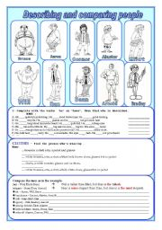 English Worksheets: Describing and comparing people