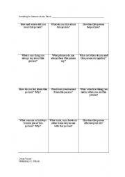 English Worksheets: Memoir grid- person
