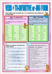 VERB + TO INFINITIVE OR -ING FORM