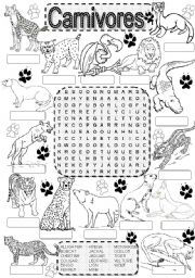 English Worksheets: Wordsearch CARNIVORES