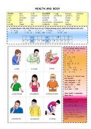 English Worksheets: BODY + ILLNESS QUIZZES (5 exercises + 9 flashcards, 40 words)