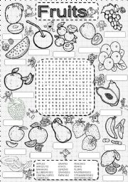 English Worksheet: wordsearch FRUITS