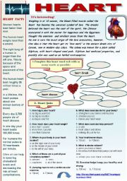 HEART! -  VOCABULARY AND READING COMPREHENSION SET FOR INTERMEDIATE AND ADVANCED STUDENTS (4 pages + answer keys) (Interesting facts about heart, heart quiz, reading comprehension article - heart anatomy with after-reading activities + heart idioms)