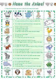 English Worksheet: Name the Animal