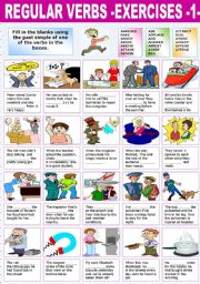 English Worksheet: REGULAR VERBS �EXERCISES (1)