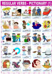 English Worksheet: REGULAR VERBS � PICTIONARY (1)