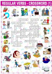 English Worksheet: REGULAR VERBS CROSSWORD -1-