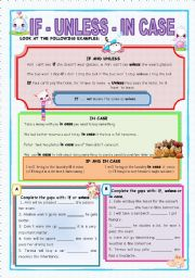 English Worksheet: IF - UNLESS - IN CASE