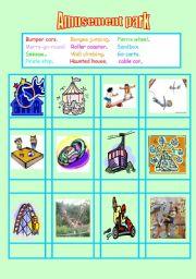 English Worksheet: Amusement park words matching 2-1
