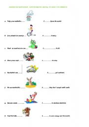 English Worksheet: worksheet on in case an in order to