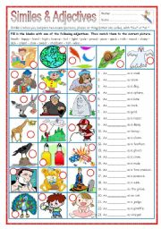 English Worksheets: Similes & Adjectives (part 2)