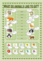 english worksheet what do animals like to eat. Black Bedroom Furniture Sets. Home Design Ideas