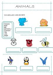 English Worksheets: Animals - Look and Write