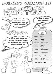 English Worksheets: FUNNY VOWELS! -  a ws for very young learners