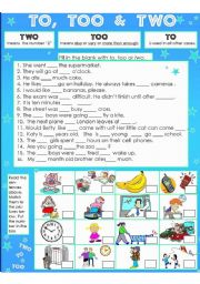 English Worksheet: To, Too & Two