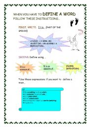 English Worksheets: HOW TO DEFINE A WORD
