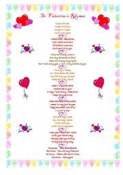 English Worksheet: St. Valentine�s rhymes