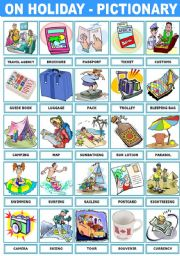 English Worksheet: ON HOLIDAY � PICTIONARY