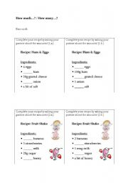 English Worksheets: How much / How many - Completing recipes (pair work)