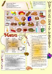 English Worksheet: WHAT DO YOU HAVE FOR BREAKFAST?
