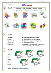 English Worksheets: Test / Collections / 5 pages  + Reading Comprehension Task