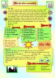 English Worksheet: CITY / COUNTRY LIFE - WRITING/SPEAKING