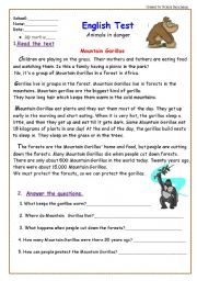 ... Test: Animals in Danger/ 5 pages/ +Reading Comprehension and Writing