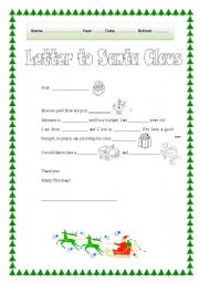 graphic about Printable Letters From Santa Claus titled Letter in the direction of Santa Claus - ESL worksheet via serennablack
