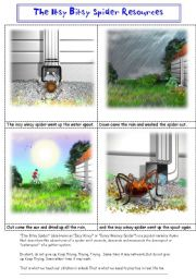 English Worksheets:  ITSY BITSY / INCY WINCY  SPIDER PICTURE STORY + RESOURCE PACK