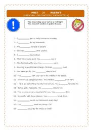 English Worksheet: personal obligation / prohibition